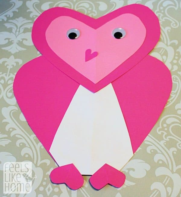 Valentine's Day heart-shaped animal crafts for kids owl