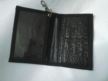 Porte carte en simili et satin avec attache mousqueton