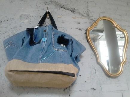 Maxi cabas jean's cuir et toile de jute