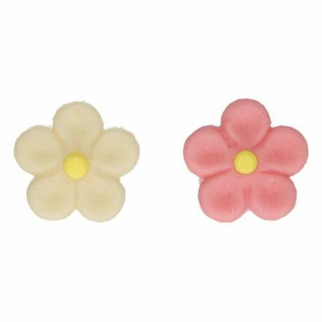 12 fleurs en pate d amande rose blanc