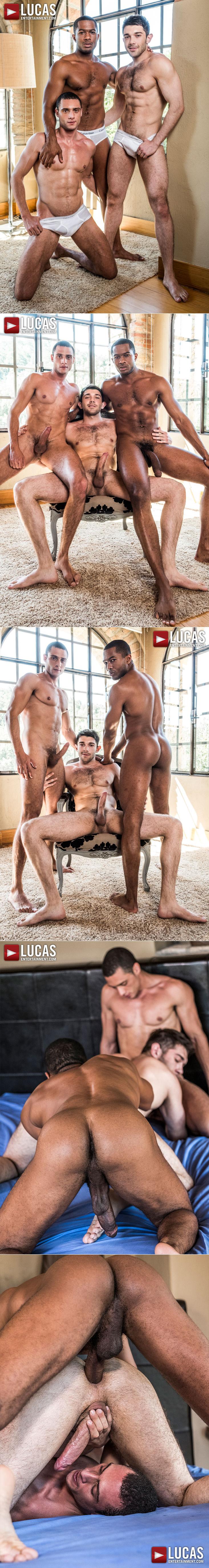 LucasEntertainment Sean Xavier Javi Velaro Ben Batemen Threesome Gay Bareback Sex Double Penetration Fuck Train Interracial Porn Uncut Cock Hairy Chest Male Feet 1