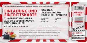 einladung eintrittskarte kino mit abriss
