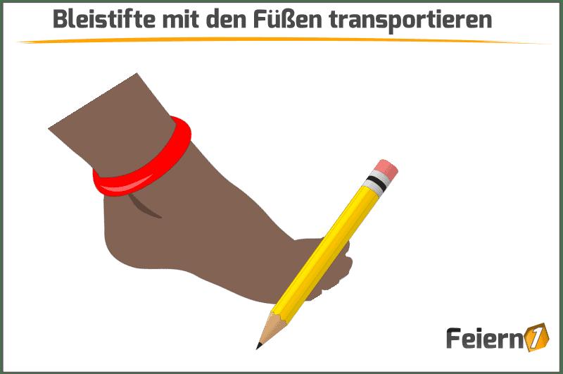 Bleistifte mit den Füßen transportieren