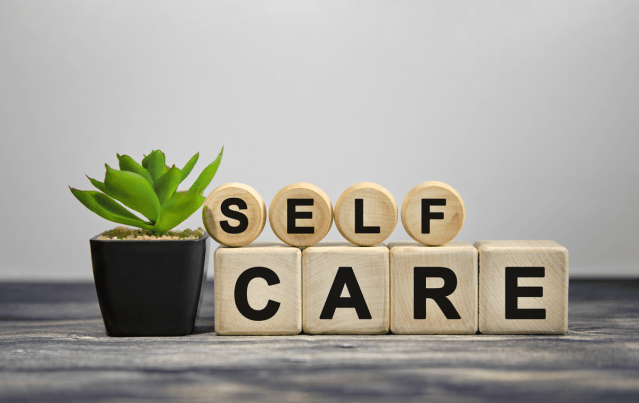 """Letter blocks that spell out """"self care"""""""