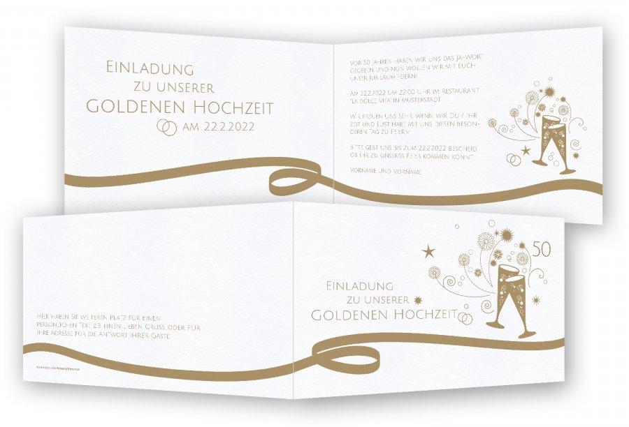 Einladungskarten Goldene Hochzeit Feinekartencom