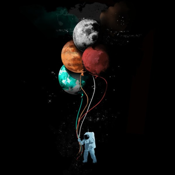 Astronaut Holding Planet Balloons TShirt