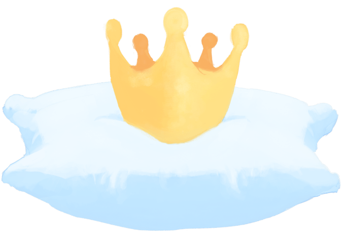 Pillow Princess' logo featuring a yellow crown on top of a whiteish blue pillow