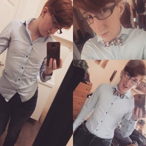 Another three photos of Taylor. On the left hand side, they're wearing a powder blue dress shirt, top two buttons undone, and blue jeaans, shirt untucked. They are looking away from the camera. In the two photos on the right they're wearing the same outfit with the addition of a plaid bowtie. The top right photo is from their chest upl they are pretending to look surprised and are very cute. In the bottom right photo you can see the tops of their jeans as well, their shirt now tucked in, and they have an overly exaggerated excited expression.