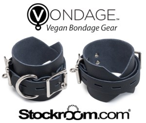Stockroom's Vondage Vegan Bondage Gear, with two of their wrist cuffs featured above their logo