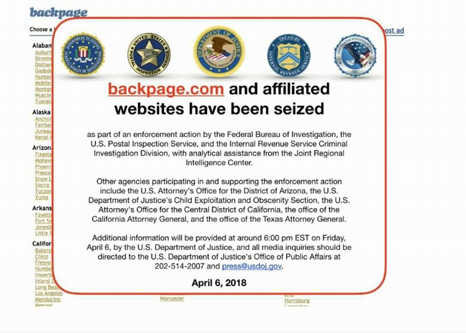 Screenshot saying the Backpage.com has been seized by the feds