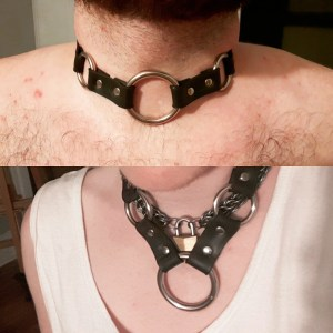Two photos of the same collar on different people. On top, it's on the former submissive and fits tight. On the bottom it's around my neck and loose, more like a necklace.