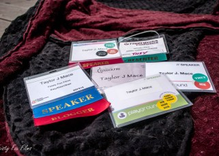 Siz conference badges from 2016 to 2018. They are either marked as a presenter badge, or from a conference that I presented at.