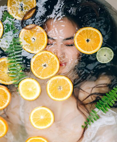 woman with citrus