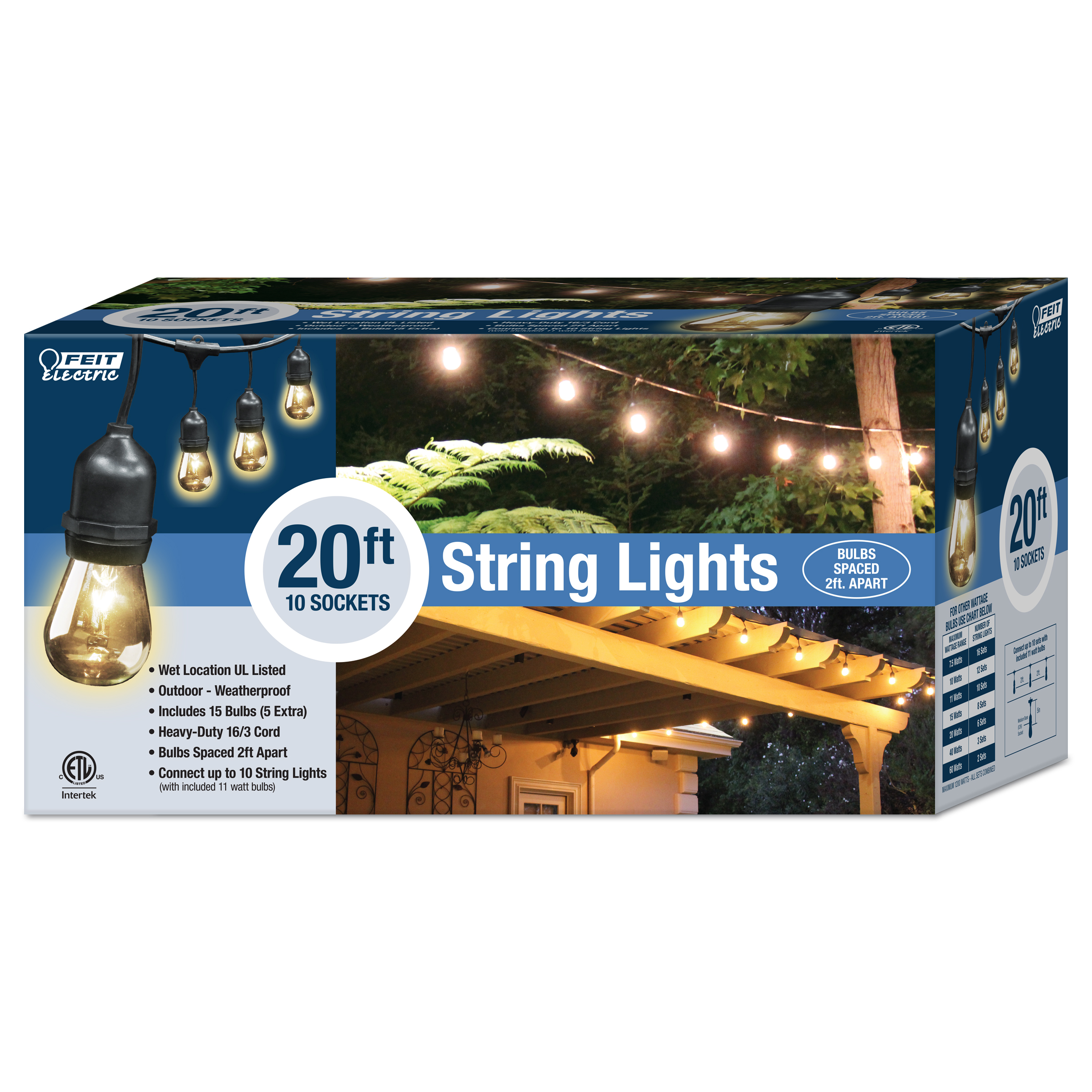 20 foot string light feit electric