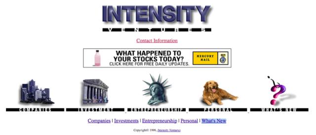 Intensity Ventures website