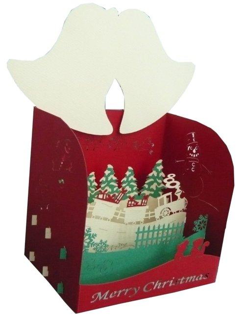 Tarjeta navideña 3D con ferrocarril original