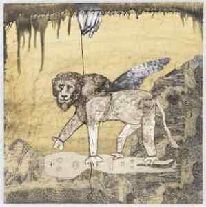 58 lion on a leash