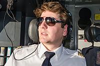 Felix Gottwald in MD-11 cockpit