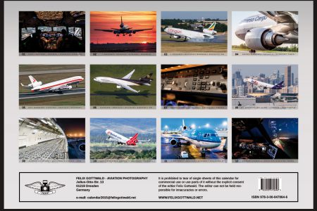 Flip side of MD-11 Calendar 2015 by Felix Gottwald showing all twelve aircraft images of the aviation calendar.