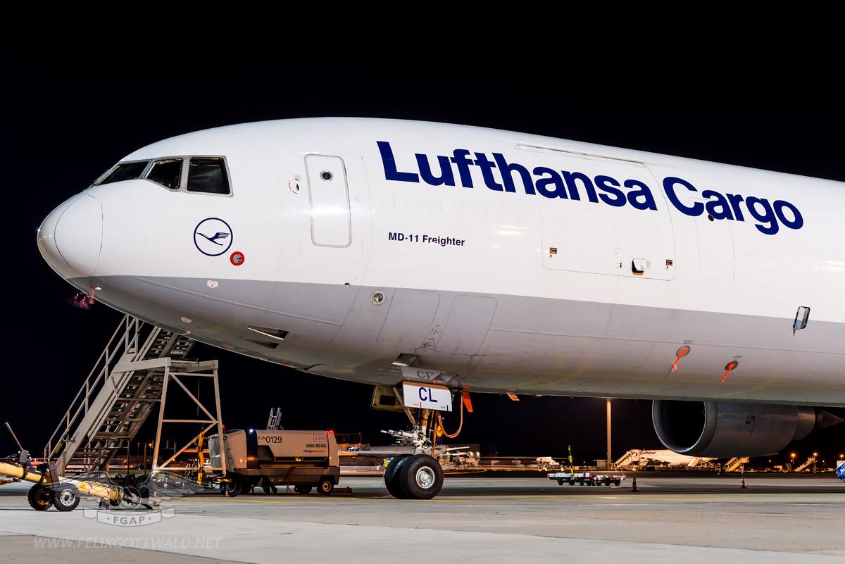 Lufthansa Cargo - McDonnell Douglas MD-11 freighter D-ALCL Frankfurt front