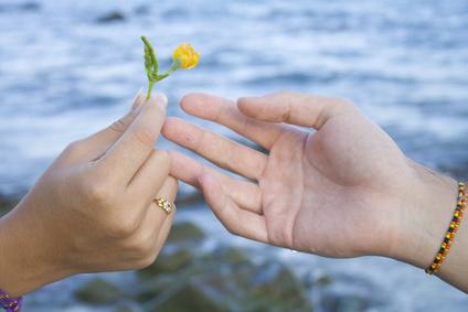 Regalando una pequeña flor