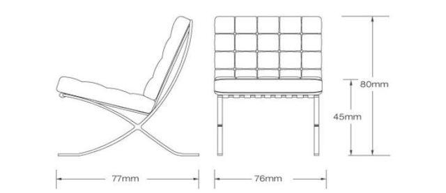 dimensiones de la silla barcelona