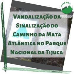 Vandalização da Sinalização do Caminho da Mata Atlântica no Parque Nacional da Tijuca