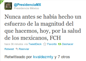 Twitt de la PresidenciaMX sobre los TRE de los lisosomales e el Seguro Popular