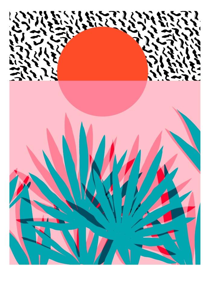 Sunday's Society6 - Wacka retro neon tropical colorful pattern pop art sunrise sunset