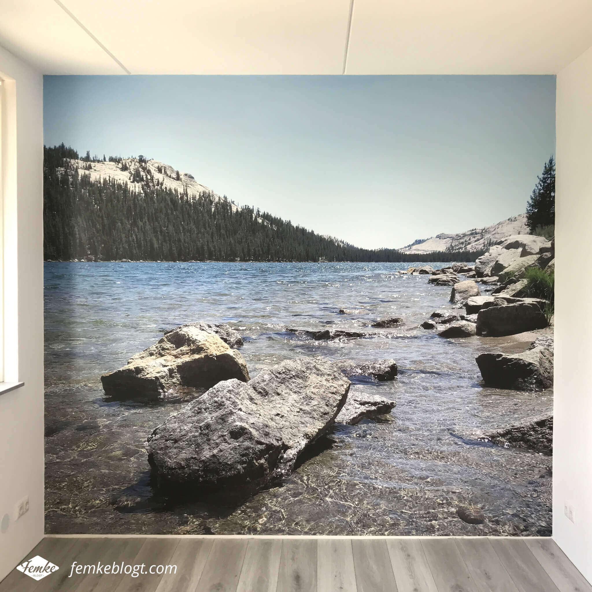 DIY fotobehang van je eigen foto | Het eindresultaat voordat het bed er stond