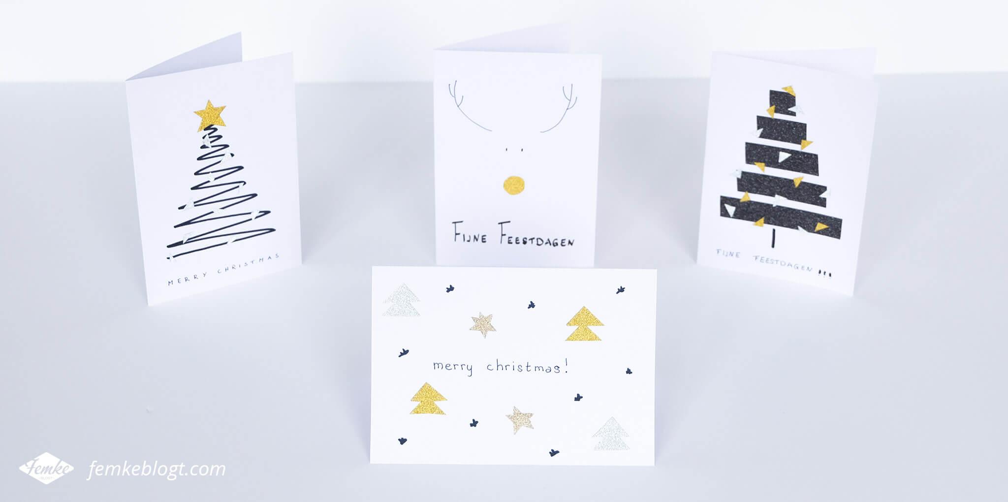 DIY kerstkaarten met glitter washi tape   Deze simpele kerstkaarten maak je eenvoudig zelf met wit papier, een zwarte stift en glitter washi tape!