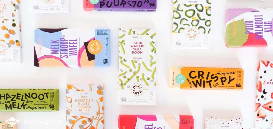 Redesign Delicata chocoladerepen, nieuwe kleurrijke verpakkingen
