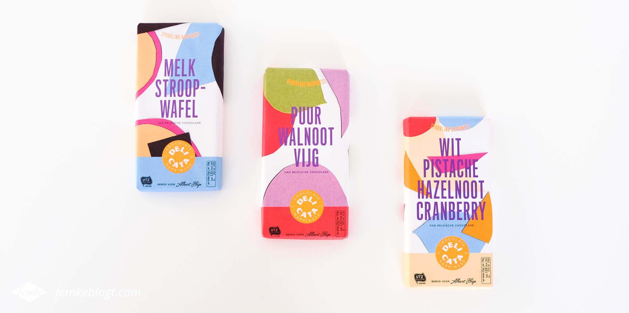 Redesign Delicata chocoladerepen, nieuwe kleurrijke verpakkingen | Sparkling Happiness