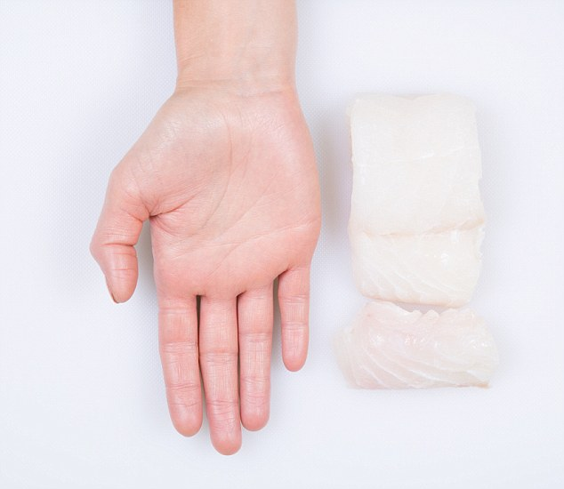 voeding portie witte vis in hand