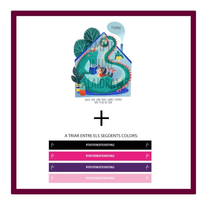 D) Pack l·lustració virtual Lalaidraw amb missatge + Polsera de tela de Femme Inline