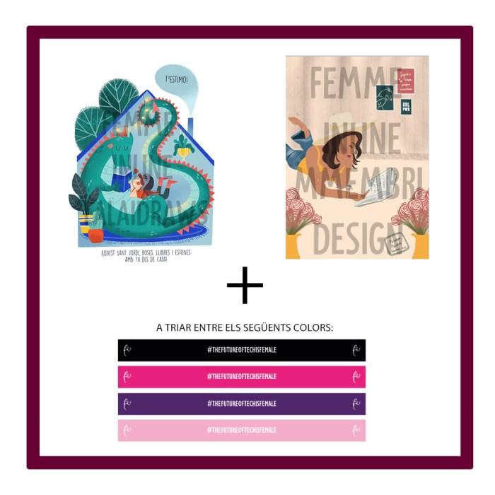 F) Dues il·lustracions virtuals amb missatge de St Jordi + Polsera de Femme Inline
