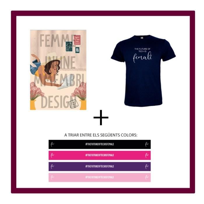 "K) Il·lustració virtual Mmembridesign amb missatge + Polsera de tela de Femme Inline + samarreta The future of tech is Female"""