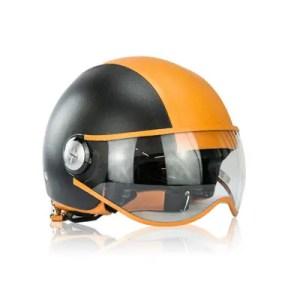 Albertario – Casco Moto Jet In Pelle Orange Nero