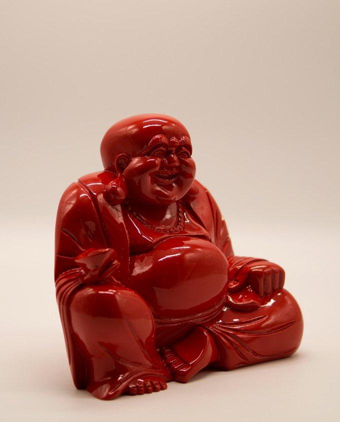 Βούδας ρητίνη χαμογελαστός ύψος 20 cm κόκκινος