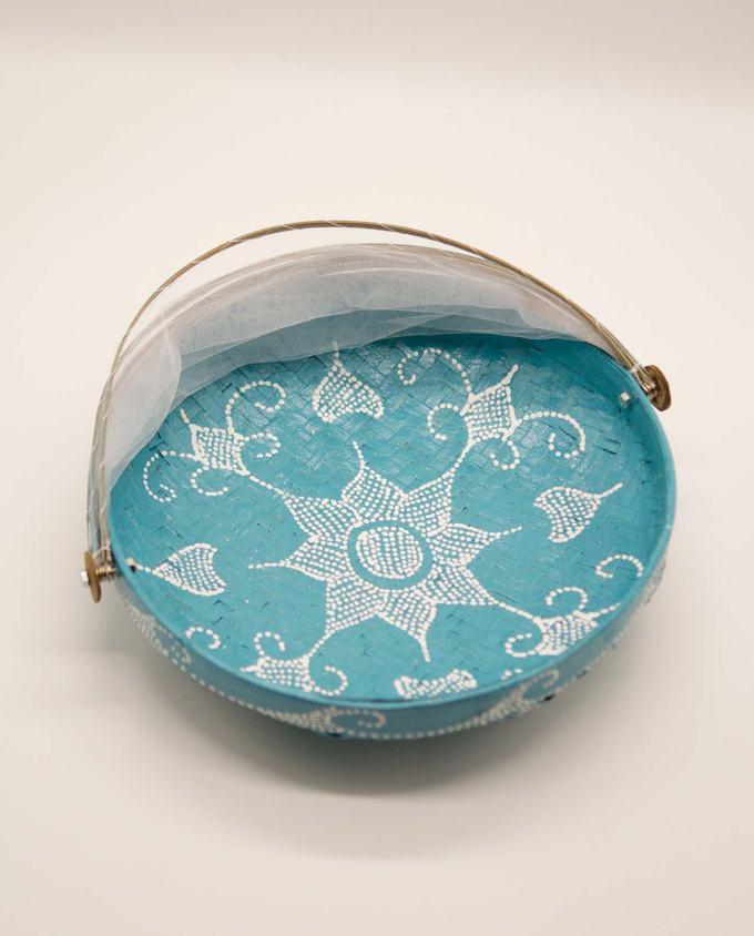 Καλάθι πιατέλα με αναδιπλώμενο τούλι, διαμέτρου 30 cm γαλάζιο