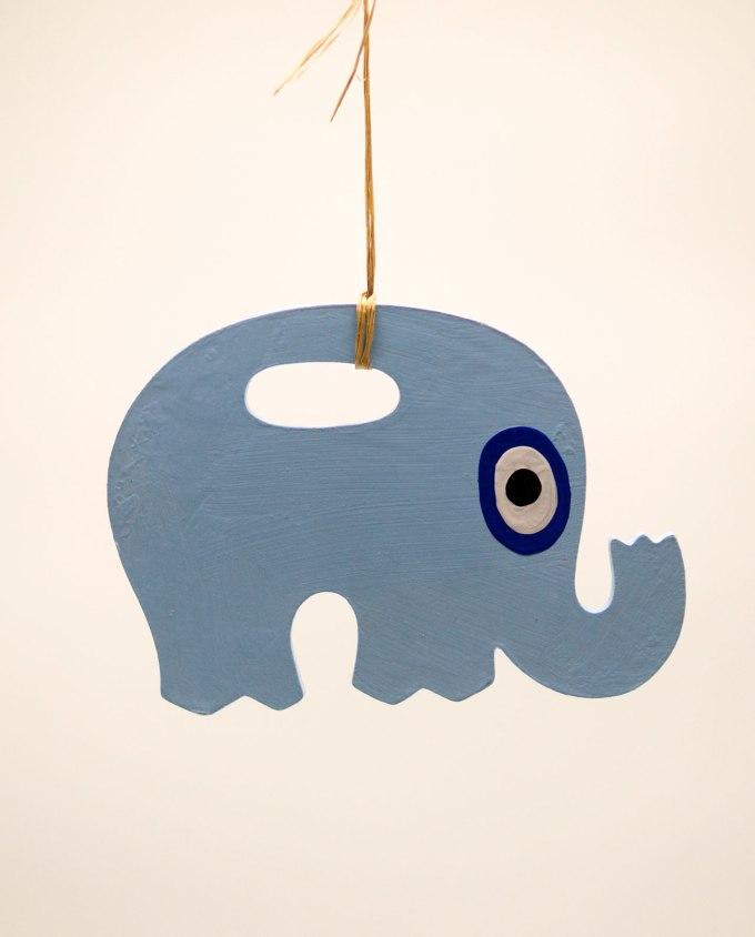 Ελέφαντας ματάκι ξύλινος χειροποίητος μήκος 18 cm γαλάζιος