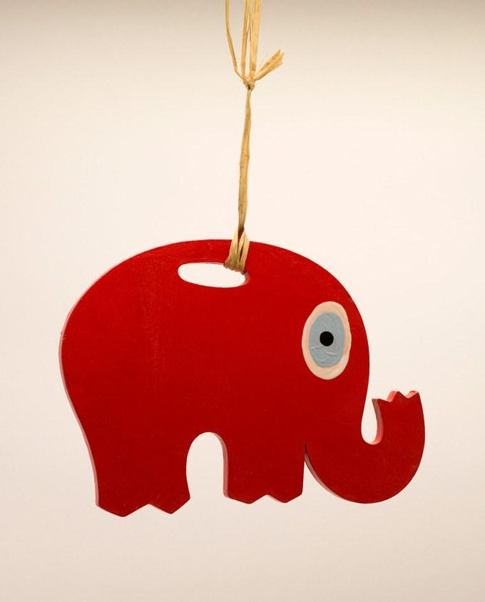 Ελέφαντας ματάκι ξύλινος χειροποίητος μήκος 18 cm κόκκινος