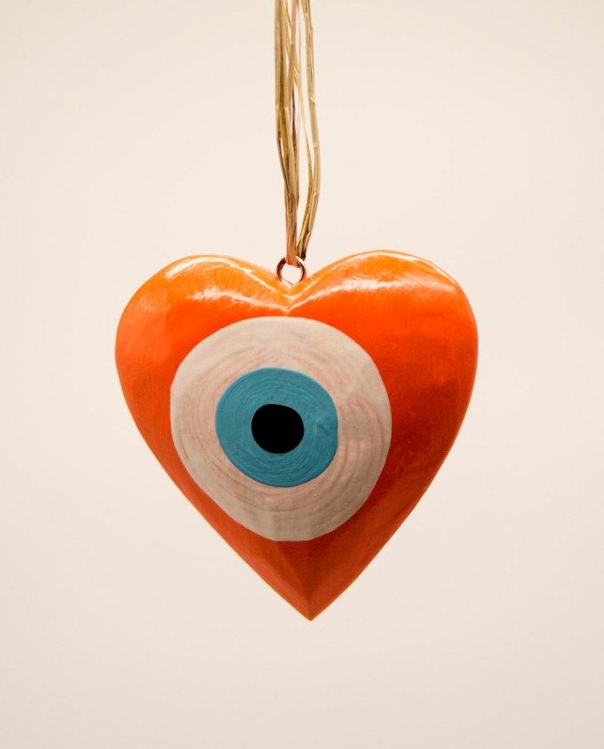Καρδιά ματάκι ξύλινη χειροποίητη διαμέτρου 10 cm πορτοκαλί