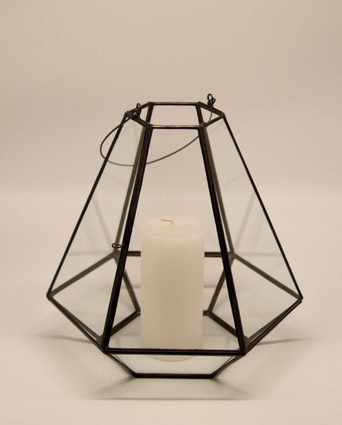 Lantern handmade glass brown copper pyramid