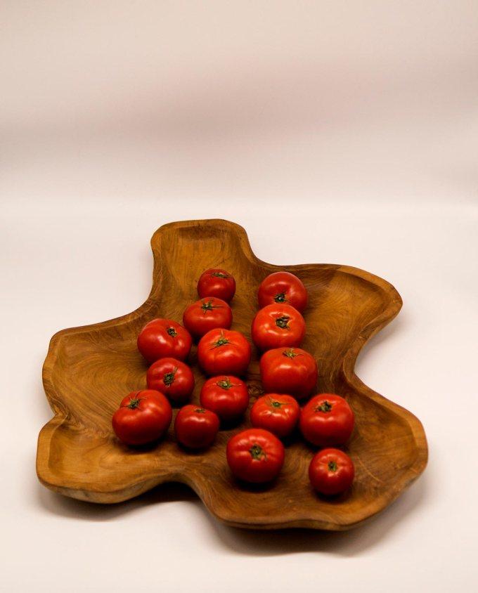 Πιατέλα ακανόνιστη από ξύλο τικ διαμέτρου 50 cm