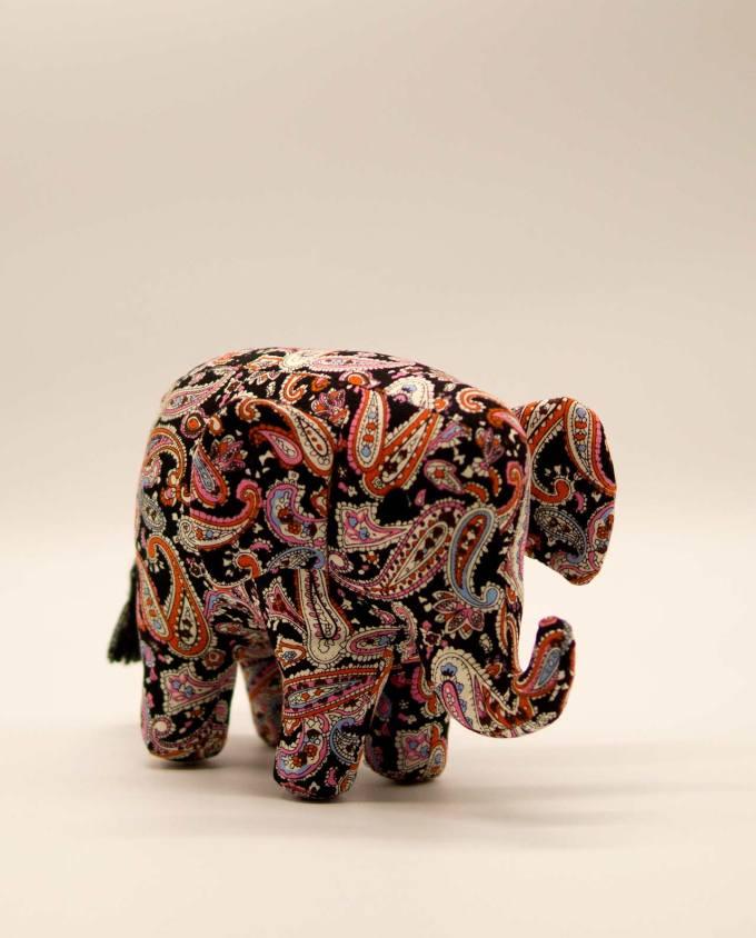 Ελέφαντας υφασμάτινος μπατικ χειροποίητος μεσαίο μέγεθος μαύρο