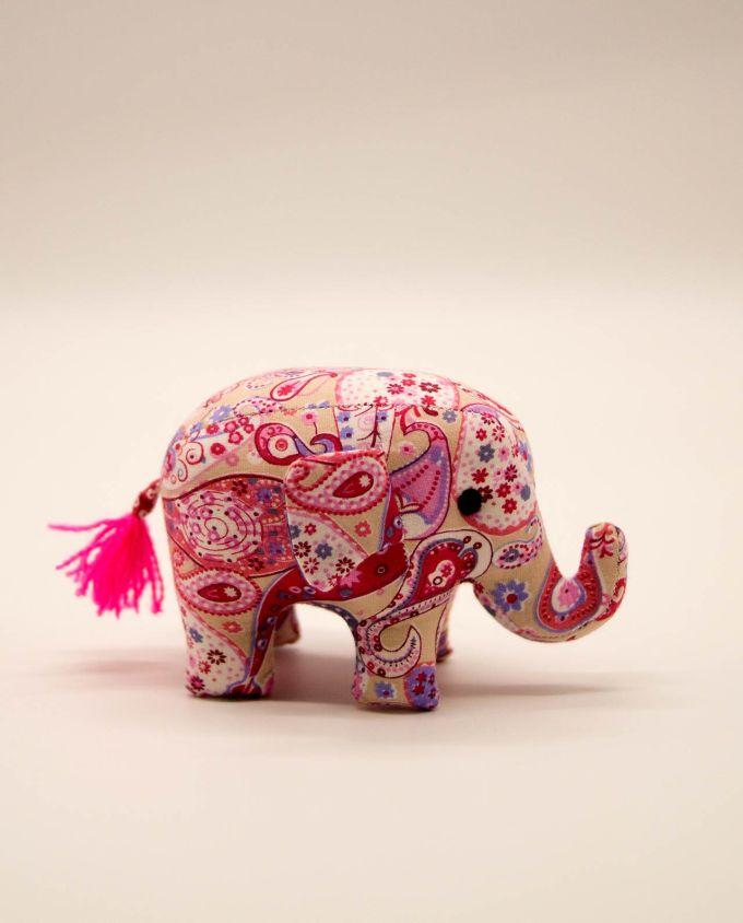 Ελέφαντας υφασμάτινος μπατικ χειροποίητος μικρό μέγεθος ροζ