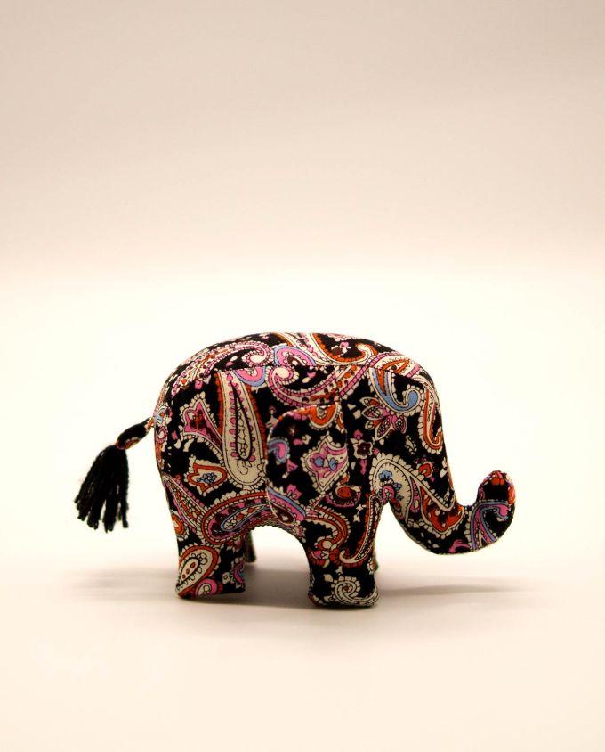 Ελέφαντας υφασμάτινος μπατικ χειροποίητος μικρό μέγεθος μαύρο