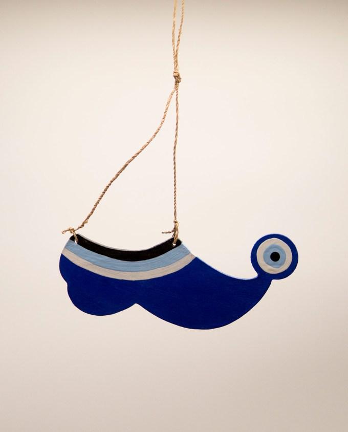 Τσαρούχι ματάκι ξύλινο χειροποίητο μήκος 20 cm μπλε