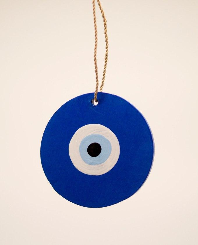 Ματάκι ξύλινο χειροποίητο διαμέτρου 8 cm μπλε